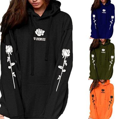 UK Women Plus Size Long Sleeve Hoody Hooded Sweatshirt Ladies Casual Hoodies Top 2