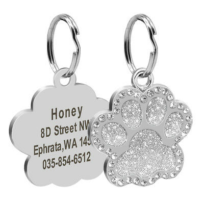 Personalized Dog Tags Engraved Puppy Pet ID Name Collar Tag Bling Paw Glitter 2