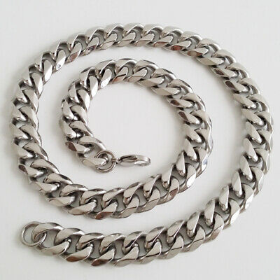 """8""""-40"""" Top 316L Stainless Steel Heavy Link Silver Curb Cuban Chain Men Necklace 7"""