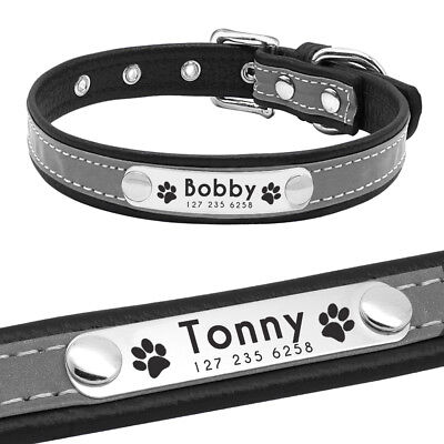 Reflective Personalised Dog Collar Cat Puppy Small Dog Collar Name Phone Engrave 3