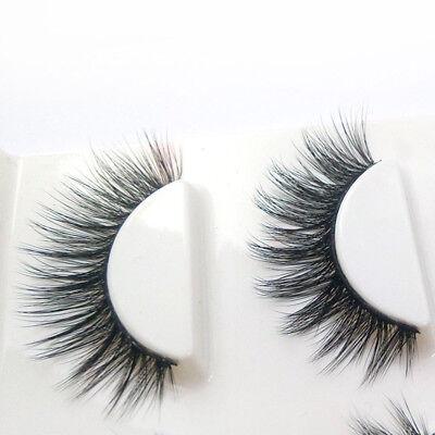 3 Pairs 100% Real 3D Mink Makeup Cross False Eyelashes Eye Lashes Handmade 9