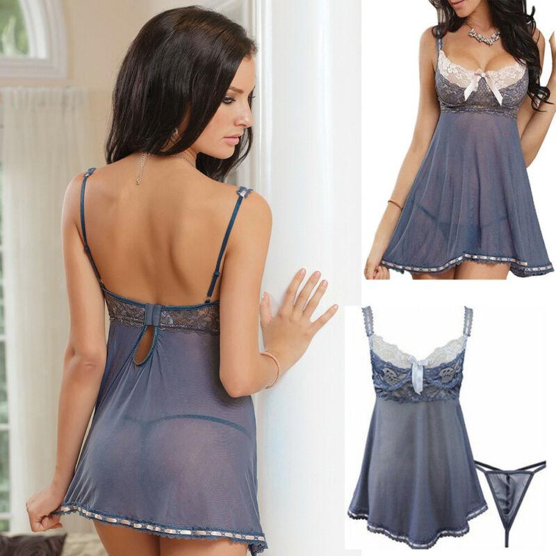 Sexy Women's Lace Nightie Lingerie Sleepwear Underwear Nightwear Dress 5