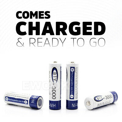 OZ 4-20X BTY AA Rechargeable Battery Recharge Batteries 1.2V 3000mAh Ni-MH 8