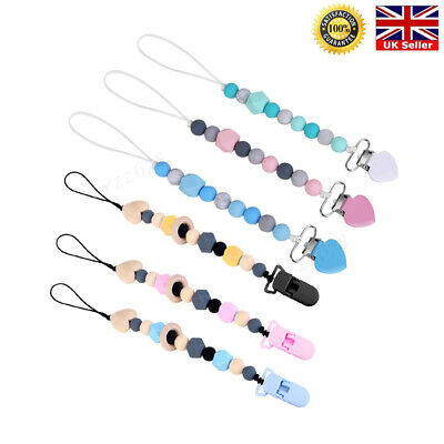 Dummy Clip Baby Pacifier Clips Silicone Beads Soother Chains Baby Teething Gifts 4