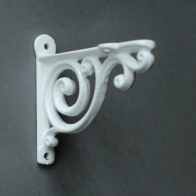 "Pair WHITE 4"" SMALL ANTIQUE VINTAGE CAST IRON VICTORIAN SHELF BRACKETS - BR01Wx2 2"