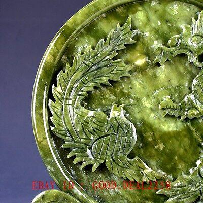 100% Natural Jade Handwork Carved Dragon & Phoenix Screen NYF01`a 2