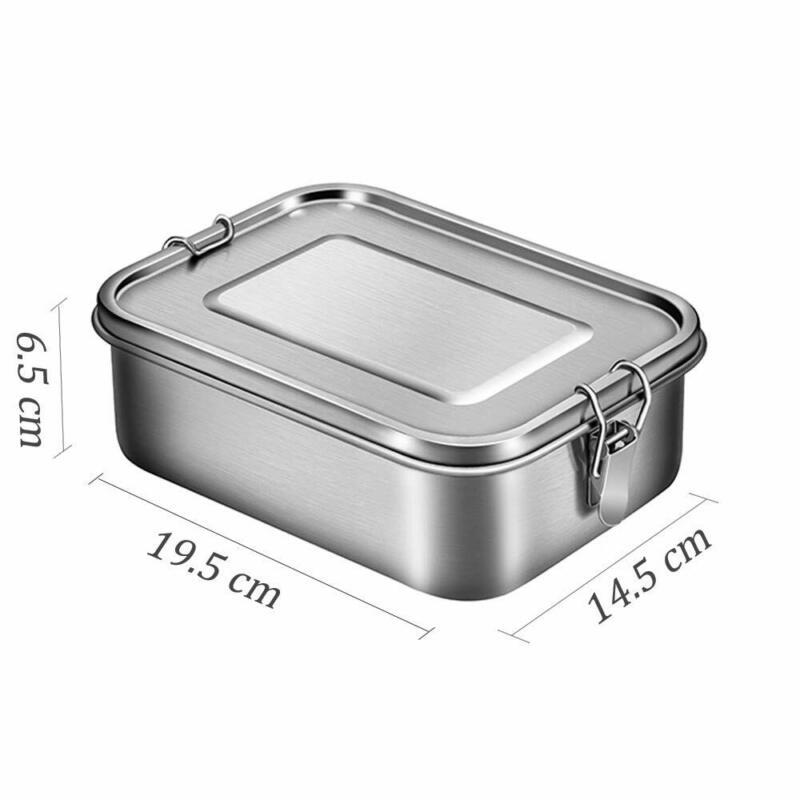 1200ml/1400ml Lunchbox aus Edelstahl Bento Box mit 3 Fächern langlebig Brotdose 11