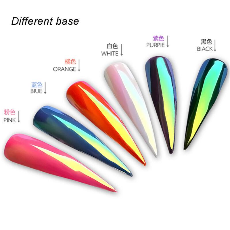 Color-Change Neon Aurora Mermaid Nail Art Glitter Powder Mirror Chrome Pigment 4