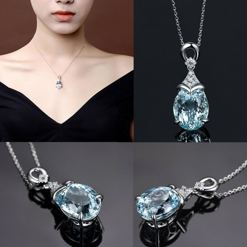 Vintage Gemstone  Natural Aquamarine Silver Chain Pendant Necklace Jewelry Gift 2