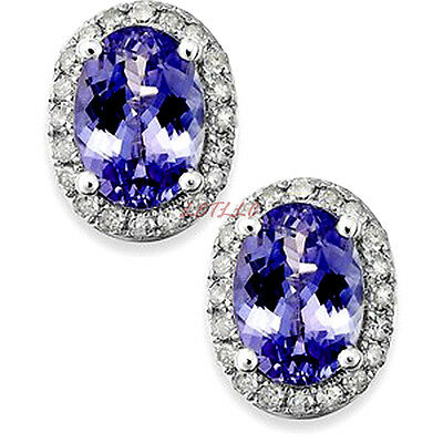 4ct CZ Stud Earrings OVAL Halo Simulated sapphire emerald amethyst ruby gift 7