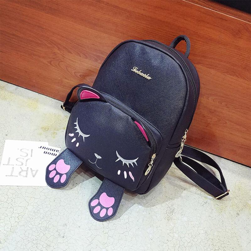 Fashion Womens Girls Cute Cat School Bags Backpack Travel Rucksack Shoulder Bag 9