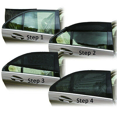 2x Car Rear Window UV Mesh Sun Shades Blind Kids Children Sunshade Blocker Black 3