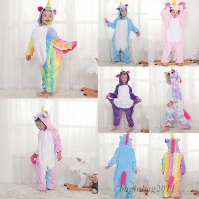 Kids Boy/Girls Rainbow Unicorn Kigurumi Animal Cosplay Pajamas Costume Sleepwear 4