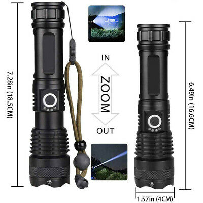 High Power 900000Lumens XHP50 Zoom Flashlight LED Rechargeable Torch Headlamp 4