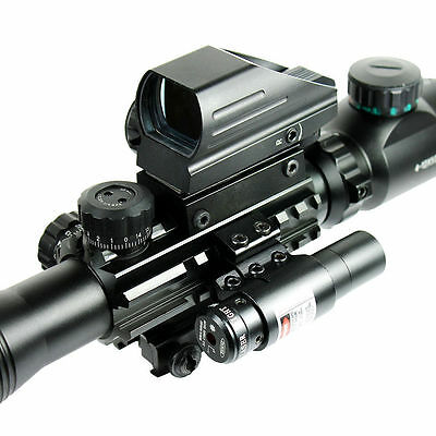 4-12X50 EG Tactical Rifle Scope with Holographic 4 Reticle Sight & Red Laser JG8 4