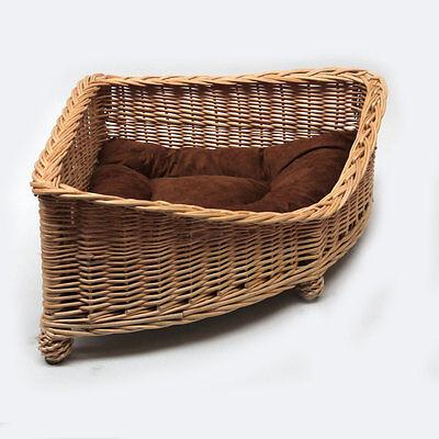 Luxury Corner Wicker Pet Bed Basket Handcrafted 3