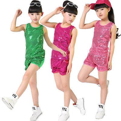 Sequined Hip Hop Dance Wear For Girls Childrens Jazz Modern Dance