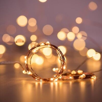 20/50/100 LEDs Battery Operated Mini LED Copper Wire String Fairy Lights 10M 12