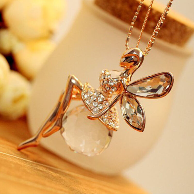 Fashion Women Crystal Fairy Angel Wing Pendant Long Chain Sweater Necklace Gift 3