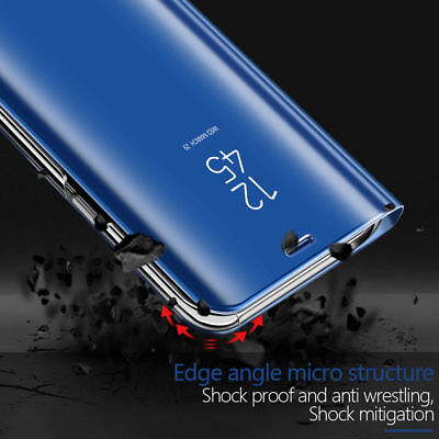 For Samsung S9 S8 Plus Note 9 Clear View Mirror Leather Flip Stand Case Cover