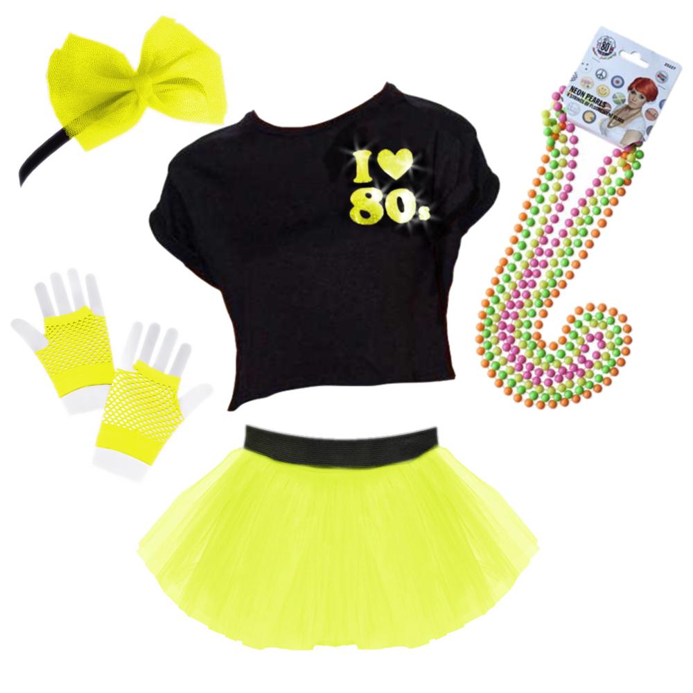 4 NEON Perline Perline Collane 80s Costume Accessorio Rave Da donna gallina
