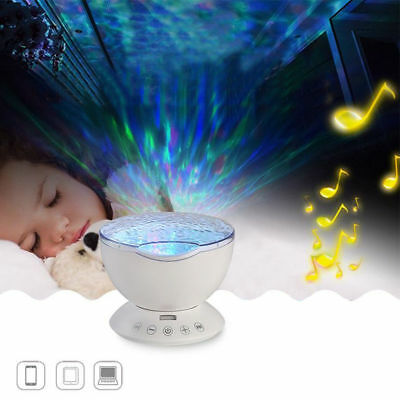 Relaxing Ocean Wave Music LED Night Light Projector Remote Lamp Baby Sleep Gift 2
