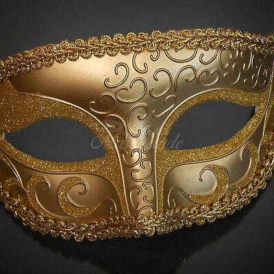 "/""SOLID METALLIC GOLD/"" HAND-PAINTED PAPER MACHE VENETIAN STYLE MARDI GRAS MASK"