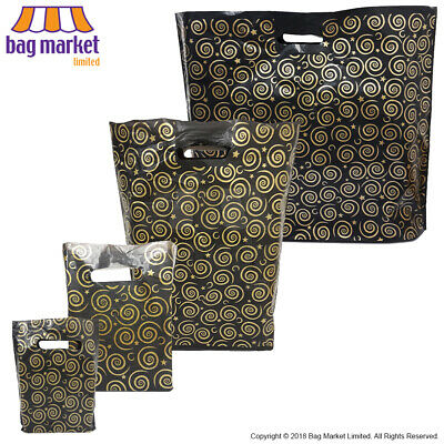 Strong Black & Gold Printed Carrier Bags   Fashion/Gift/Coloured/Jewellery/Party 3