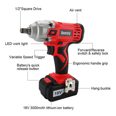 "18V Lithium Ion Cordless Impact Wrench Li-ion 1/2"" Drive Ratchet Rattle Nut Gun 2"