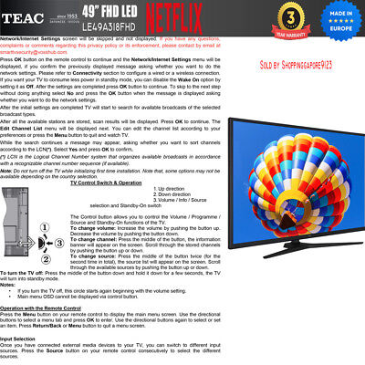"""TEAC 49"""" Inch FHD SMART TV Netflix Youtube Freevie Made In Europe 3Year Warranty 5"""