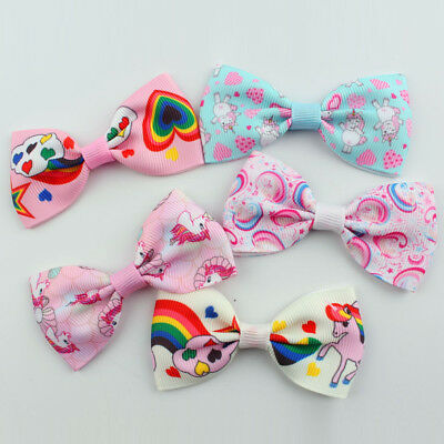 1/5/10Pcs Cartoon Unicorn Bow Hair Clips Hair Pin Kid Baby Girl Hair Accessory 12