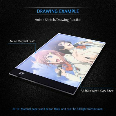 Tableta Gráfica Electrónica A4 De Dibujo De Arte Digital USB Luz LED 3 Niveles 11