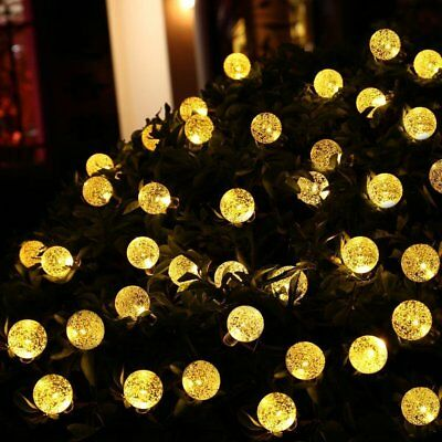 30 LED Solar Powered Garden Party Fairy String Crystal Ball Lights Outdoor 5