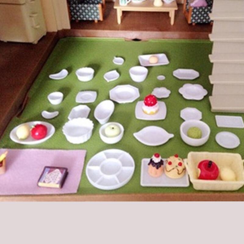 33Pcs/set Dollhouse Miniature Dish DIY Tableware Kitchen Mini Food Plates Toy 2