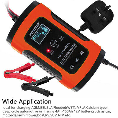Car Battery Charger 12V 5A LCD Intelligent Automobile Motorcycle Pulse Repair UK 4
