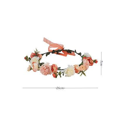 Adjustable Women's Beautiful Flower Crown Headband Hair Wreath Garland Ribbon 6
