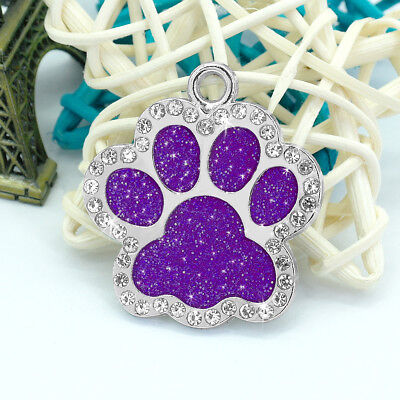 Personalized Dog Tags Engraved Puppy Pet ID Name Collar Tag Bling Paw Glitter 9