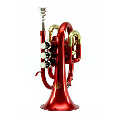 Top Quality Bb Red Plated Brass Pocket Trumpet w Strong Case 7c Mouthpiece