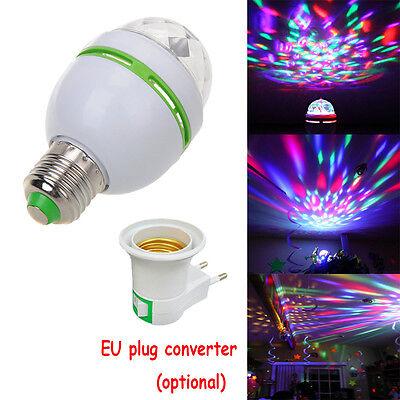 E27 B22 E14 RGB Crystal Ball Auto Rotating LED Stage Light Bulb Disco Party Lamp 4