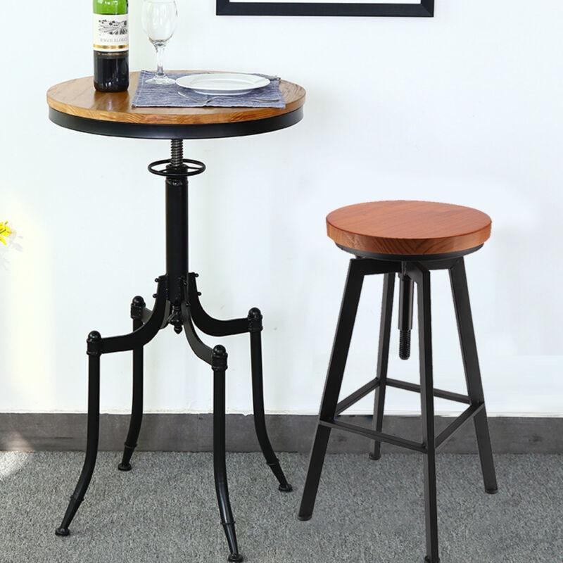 Vintage Bar Stool Metal Wooden Industrial Retro Seat Kitchen Pub Counter 2