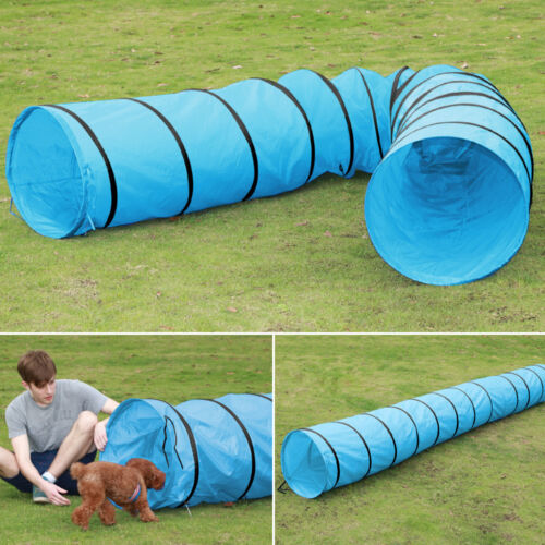 New Pet Tunnel Puppy Dog Agility Training 5.5M Outdoor Run Exercise Playing Blue 11