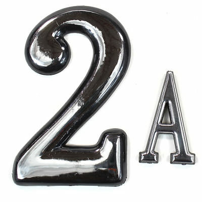 """Self Adhesive Door Numbers Chrome Finish 4"""" Number 2"""" Letter House Apartment 6"""