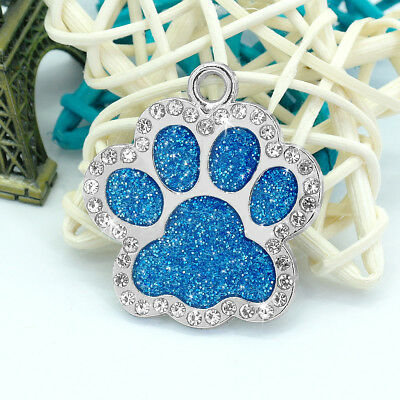 Personalized Dog Tags Engraved Puppy Pet ID Name Collar Tag Bling Paw Glitter 8