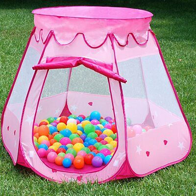 Pink Starry Pop Up Fun Play Tent Playhouse For Girls Kids Baby Children Ball Pit 7