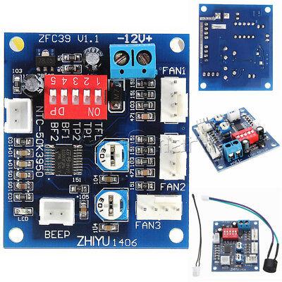12V Dual Ways / PWM PC CPU Fan Digital Temperature Control Speed Controller UK 3