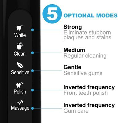 Fairywill 5 Mode Powerful Electric Toothbrush Waterproof 4 Hours USB Fast Charge 8