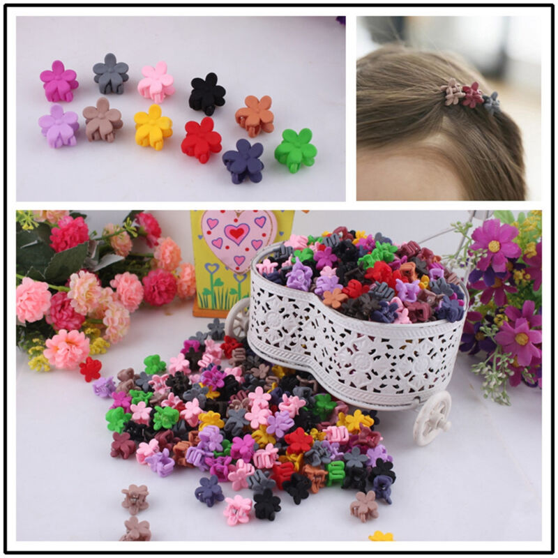30pcs Kids Baby Girls Candy Colour Hairpins Mini Claw Hair Clips Clamp Flower 3