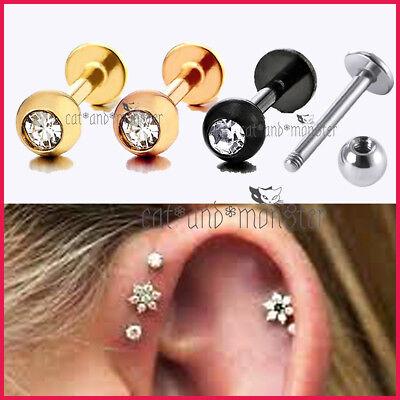 6mm 8mm 10mm 12mm Titanium Steel Ball Labret Tragus Ear Lip Bar Stud Piercing 2