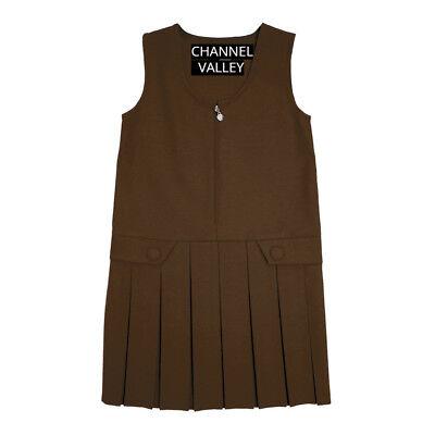 Girls School Uniform Pinafore  Box Pleated Elasticated waist school kids Skirt 6