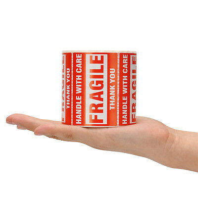2 Rolls 500/Roll 2x3 Fragile Stickers Handle with Care Thank You Mailing Labels 2